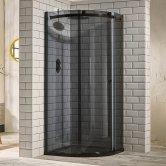 Verona Aquaglass+ Sphere Quadrant 1 Door Shower Enclosure 900mm x 900mm - 8mm Smoked Glass