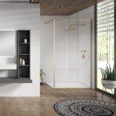 Verona Aquaglass Velar+ Brushed Brass Walk-in Shower Panel 800mm Wide with Support Bar - 8mm Glass