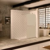 Verona Aquaglass+ Walk-In Shower Panel 800mm Wide - 10mm Frosted Glass
