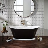 Verona Bow Graphite Traditional Freestanding Bath 1800mm x 800mm integrated Waste and White Plinth