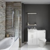 Verona Classic Complete Bathroom Furniture Suite with 600mm WC Unit and Bath Filler - Gloss White