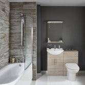 Verona Classic Complete Bathroom Furniture Suite with 600mm WC Unit and Bath Filler - Bordeaux Oak
