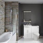 Verona Classic Complete Bathroom Furniture Suite 600mm WC Unit Bath Shower Mixer - Gloss White