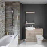 Verona Classic Complete Bathroom Furniture Suite 600mm WC Unit Bath Shower Mixer - Bordeaux Oak