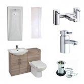 Verona Classic Modern Complete Bathroom Furniture Suite 600mm WC Unit and Bath Filler Bordeaux Oak