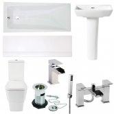 Verona Cubix Complete Bathroom Suite with Bath Shower Mixer