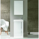 Royo Elegance Floor-Standing Cloakroom Unit with Basin and Mirror 445mm Wide - Gloss White