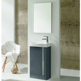 Royo Elegance Floor-Standing Cloakroom Unit with Basin and Mirror 445mm Wide - Gloss Grey