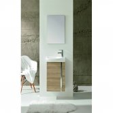 Royo Elegance Floor-Standing Cloakroom Unit with Basin and Mirror 445mm Wide - Walnut