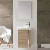 Royo Elegance Wall Hung Cloakroom Unit with Basin and Mirror 445mm Wide - Walnut