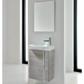 Royo Elegance Wall Hung Cloakroom Unit with Basin and Mirror 445mm Wide - Sandy Grey