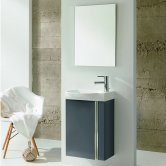 Royo Elegance Wall Hung Cloakroom Unit with Basin and Mirror 445mm Wide - Gloss Grey