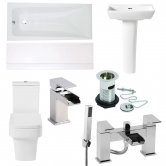 Verona F60 Complete Bathroom Suite with Open Back WC and Bath Shower Mixer