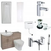 Verona F60R Complete Bathroom Furniture Suite 500mm WC Unit Bath Shower Mixer - Bordeaux Oak