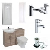 Verona F60R Complete Bathroom Furniture Suite with 600mm WC Unit and Bath Filler - Bordeaux Oak