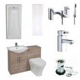 Verona F60R Modern Complete Bathroom Furniture Suite 500mm WC Unit Bath Shower Mixer Bordeaux Oak