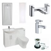 Verona F60R Modern Complete Bathroom Furniture Suite 600mm WC Unit and Bath Filler - Gloss White