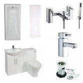 Verona F60R Modern Bathroom Furniture Suite 600mm WC Unit and Bath Shower Mixer Gloss White