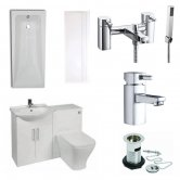 Verona F60S Complete Bathroom Furniture Suite 500mm WC Unit Bath Shower Mixer - Gloss White