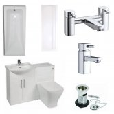 Verona F60S Complete Bathroom Furniture Suite with 600mm WC Unit and Bath Filler - Gloss White