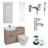 Verona F60R Complete Bathroom Furniture Suite 1150mm Combination Unit Bath Shower Mixer - Bordeaux Oak