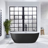 Verona Graphite Summit Freestanding Double Ended Bath 1680mm x 800mm - Black Outer