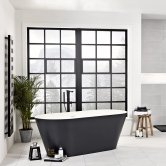 Verona Graphite Stone Freestanding Double Ended Bath 1700mm x 800mm - Black Outer