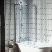 Verona Islington Bath Screen with Flipper Panel 1450mm High x 850mm Wide - Clear Glass
