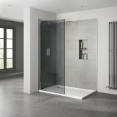 Verona Prestige2 Walk-in Shower Panel 700mm Wide - 10mm Smoked Glass