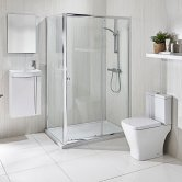 Verona Promenade Bathroom Suite Package 1200mm x 760mm Sliding Enclosure