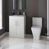 Verona Promenade Bathroom Cloakroom Suite Close Coupled Toilet 600mm Vanity Unit