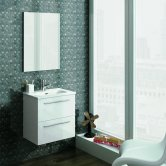 Royo Street 2-Drawer Wall Unit with Square Basin and Mirror 500mm Wide - Gloss White