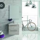 Royo Street 2-Drawer Wall Unit with Square Basin and Mirror 500mm Wide - Sandy Grey