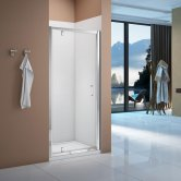 Verona Vivid Pivot Shower Door with Square Shower Tray - 760mm Wide
