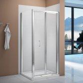 Verona Vivid Bi-Fold Shower Door with Square Shower Tray - 900mm Wide