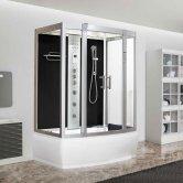 Vidalux Aegean Rectangular Steam Whirlpool Shower Bath Cabin 1500mm x 900mm - Midnight Black
