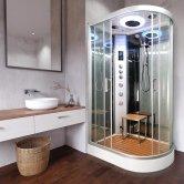 Vidalux Clearwater Offset Quadrant Steam Shower Cabin 1200mm x 800mm Left Handed - Ocean Mirror