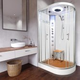 Vidalux Clearwater Offset Quadrant Steam Shower Cabin 1200mm x 800mm Left Handed - Crystal White