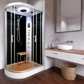 Vidalux Clearwater Offset Quadrant Steam Shower Cabin 1200mm x 800mm Right Handed - Midnight Black
