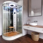 Vidalux Clearwater Offset Quadrant Steam Shower Cabin 1200mm x 800mm Right Handed - Ocean Mirror