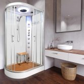 Vidalux Clearwater Offset Quadrant Steam Shower Cabin 1200mm x 800mm Right Handed - Crystal White
