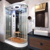 Vidalux Hydro Plus Offset Quadrant Shower Cabin 1200mm x 800mm Left Handed - Ocean Mirror
