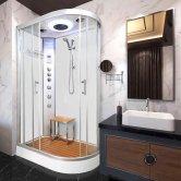 Vidalux Hydro Plus Offset Quadrant Shower Cabin 1200mm x 800mm Left Handed - Crystal White