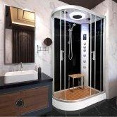 Vidalux Hydro Plus Offset Quadrant Shower Cabin 1200mm x 800mm Right Handed - Midnight Black