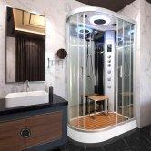 Vidalux Hydro Plus Offset Quadrant Shower Cabin 1200mm x 800mm Right Handed - Ocean Mirror