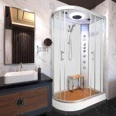 Vidalux Hydro Plus Offset Quadrant Shower Cabin 1200mm x 800mm Right Handed - Crystal White