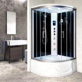 Vidalux Miami Quadrant Steam Shower Bath Cabin 1050mm x 1050mm - Midnight Black
