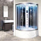 Vidalux Miami Quadrant Steam Shower Bath Cabin 1050mm x 1050mm - Ocean Mirror