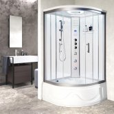 Vidalux Miami Quadrant Steam Shower Bath Cabin 1050mm x 1050mm - Crystal White