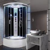 Vidalux Miami Quadrant Steam Shower Bath Cabin 900mm x 900mm - Midnight Black